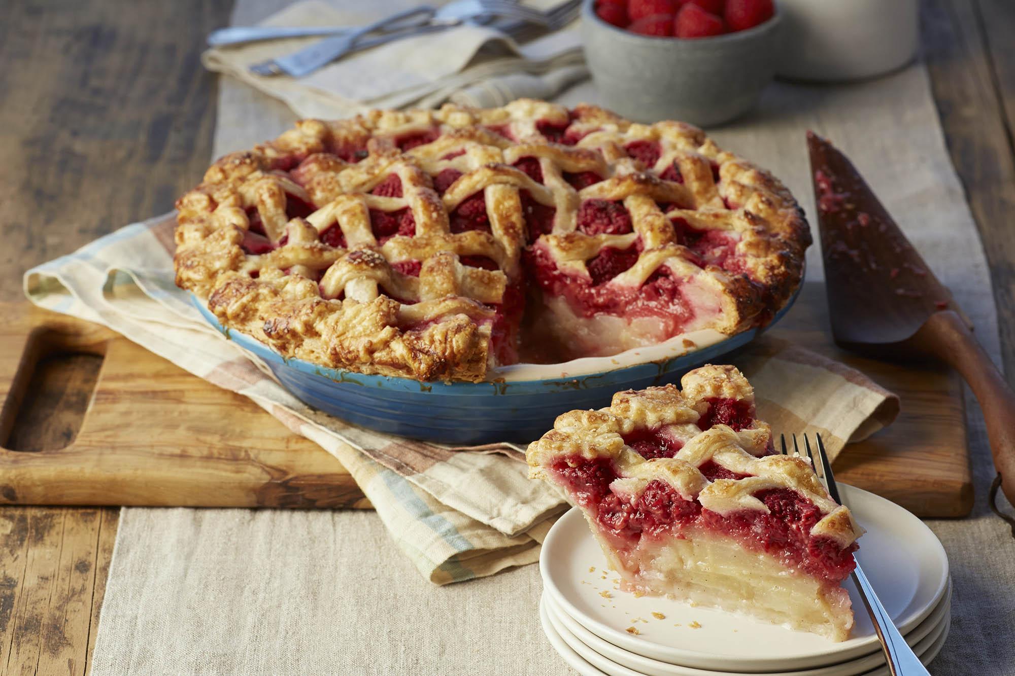 Pear Raspberry Cardamom Spiced Pie