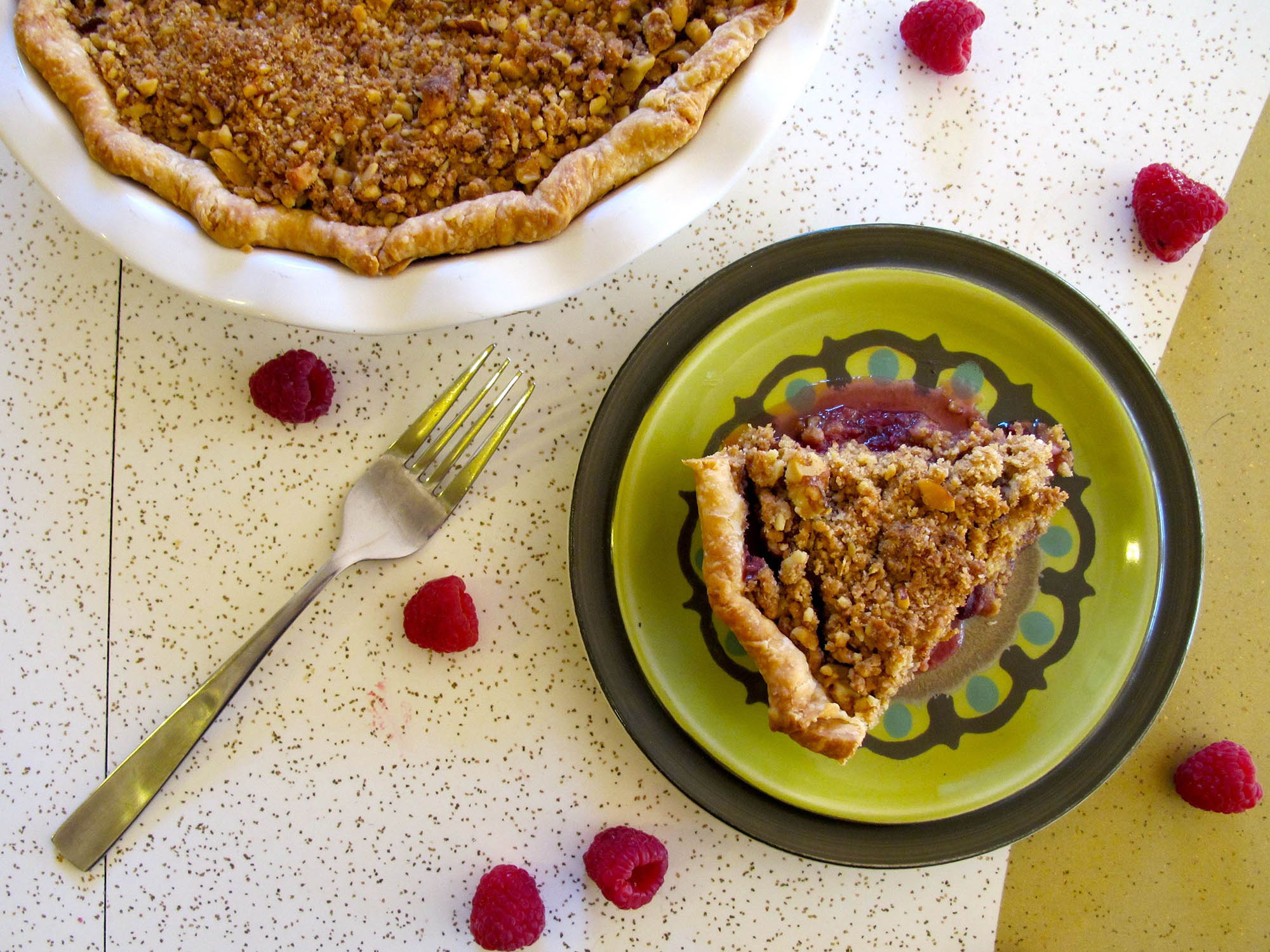 Raspberry Pie with Walnut Crumble and Bourbon Whipped Cream
