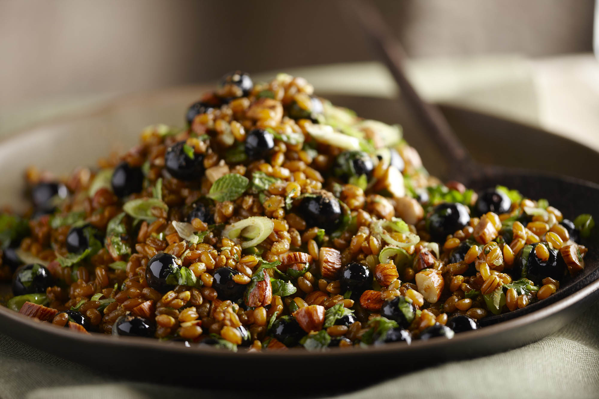 Curried Wheatberries With Blueberries