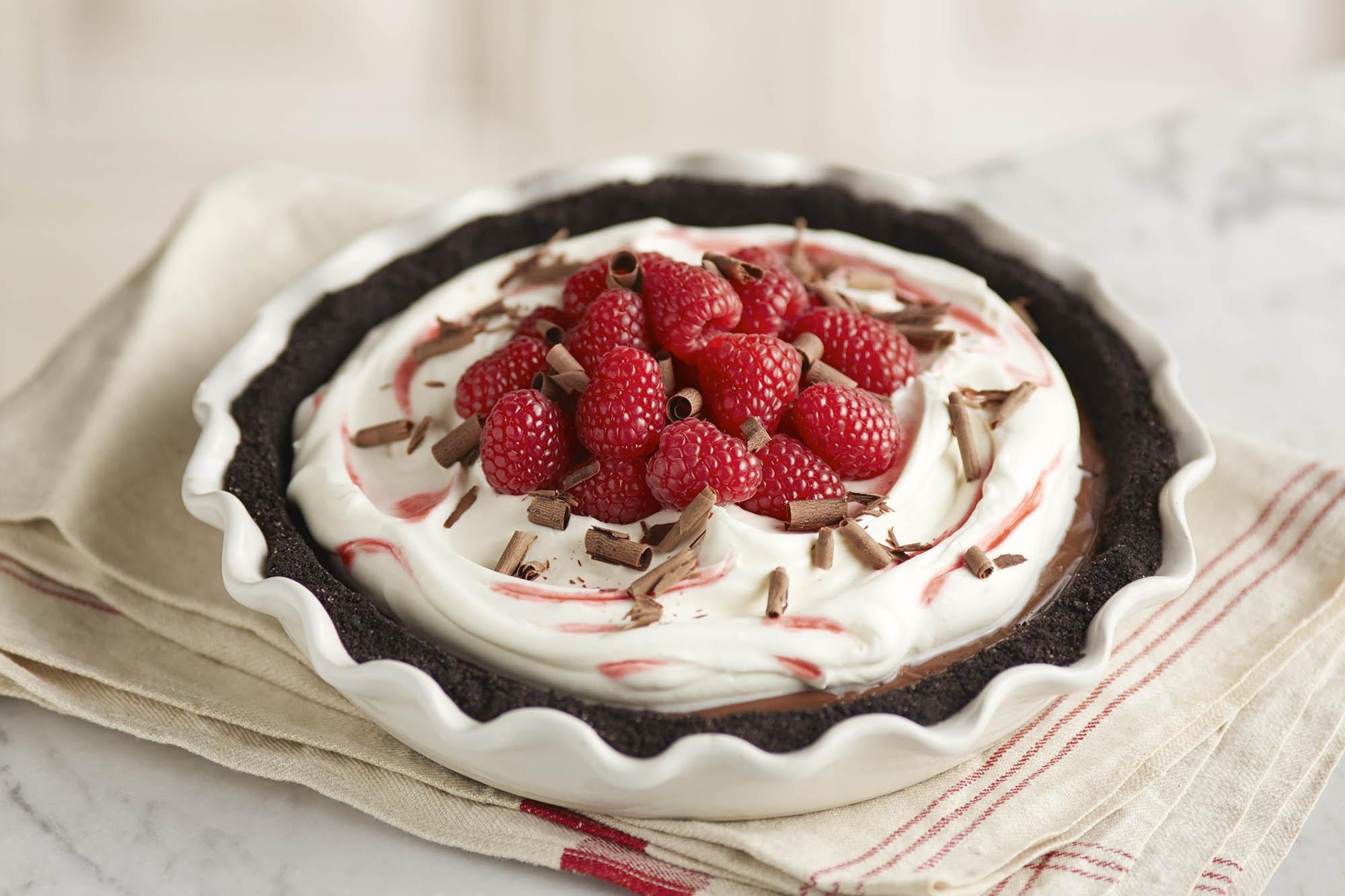 Dark Chocolate Raspberry Cream Pie