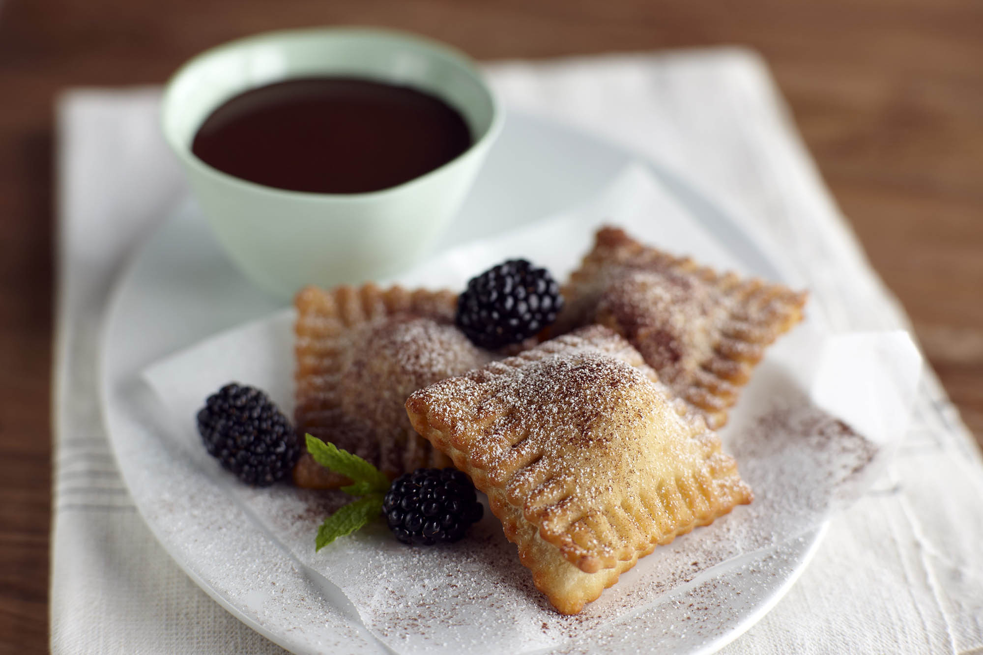 Fried Blackberry Ravioli with Chocolate Fondue