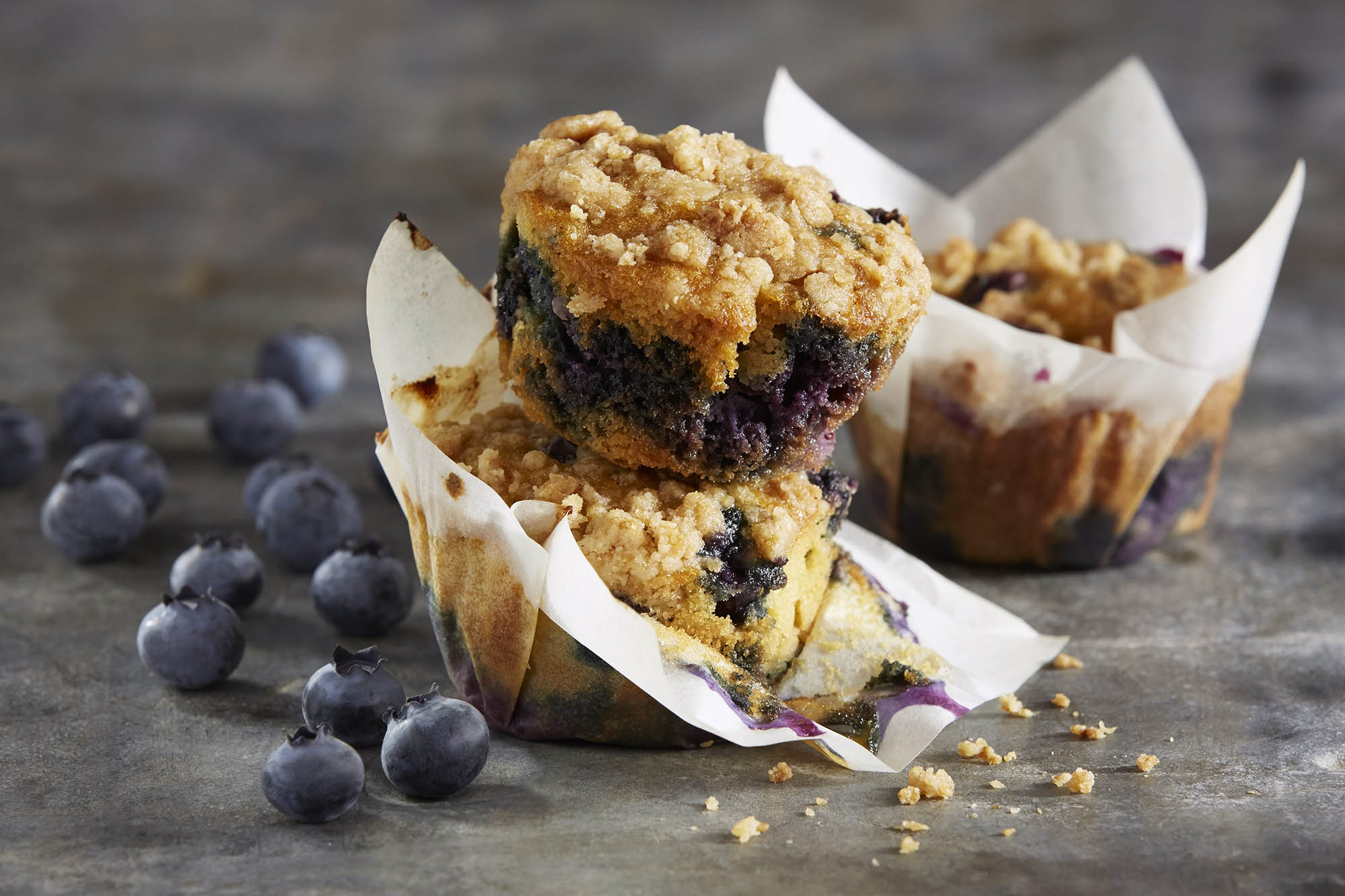Gluten Free Blueberry Muffins with Almond Crumble