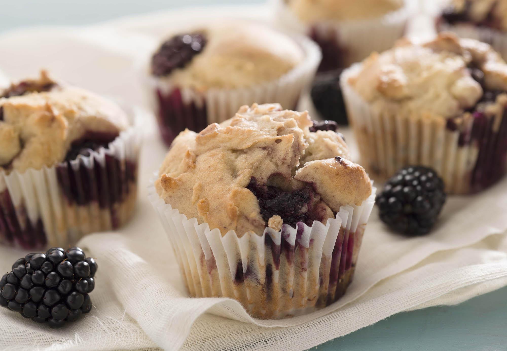 King Arthur Flour's Gluten-Free Blackberry Muffin