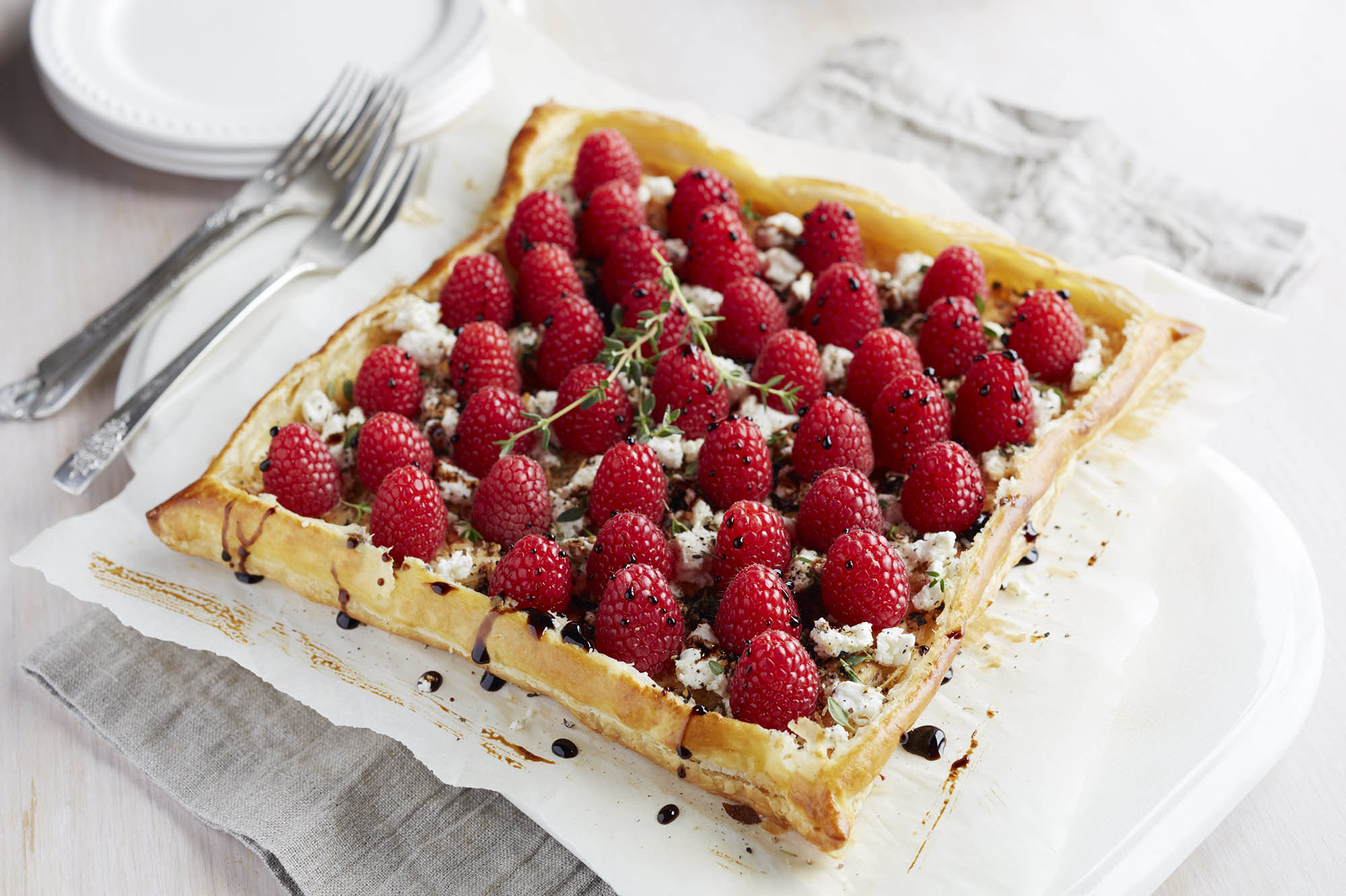 savory cheese galette with raspberries